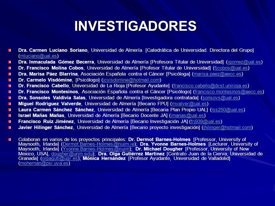 INVESTIGADORES Dra. Carmen Luciano Soriano, Universidad de Almería [Catedrática de Universidad. Directora del Grupo]